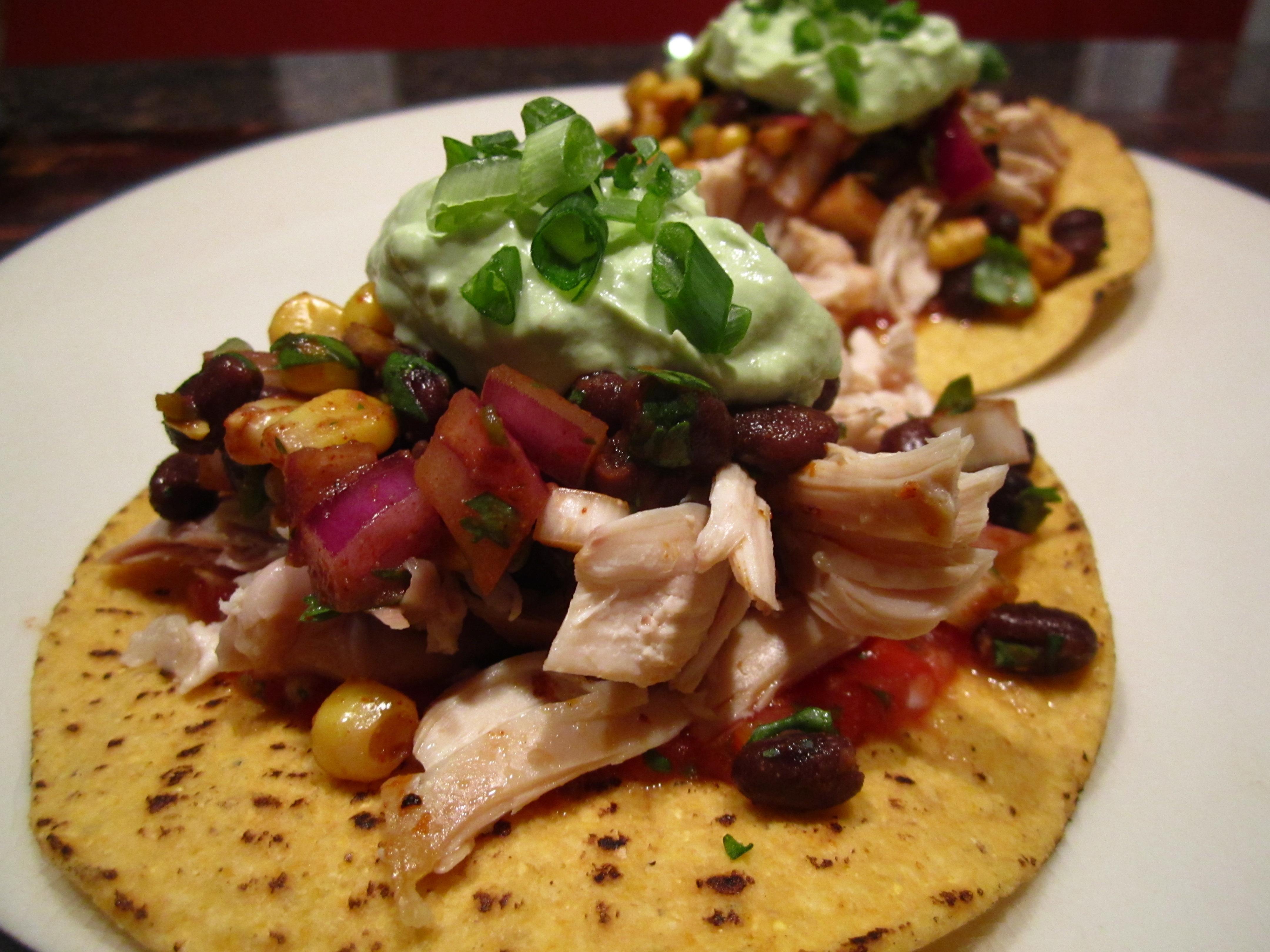 Rotisserie Chicken Tostadas with Black Bean Corn Salsa « Sarah's ...