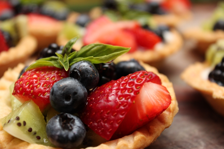 Basil Fruit Tarts with Creamy Yogurt