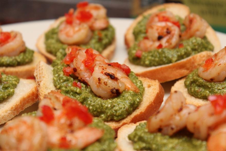 Shrimp and Pesto Crostinis