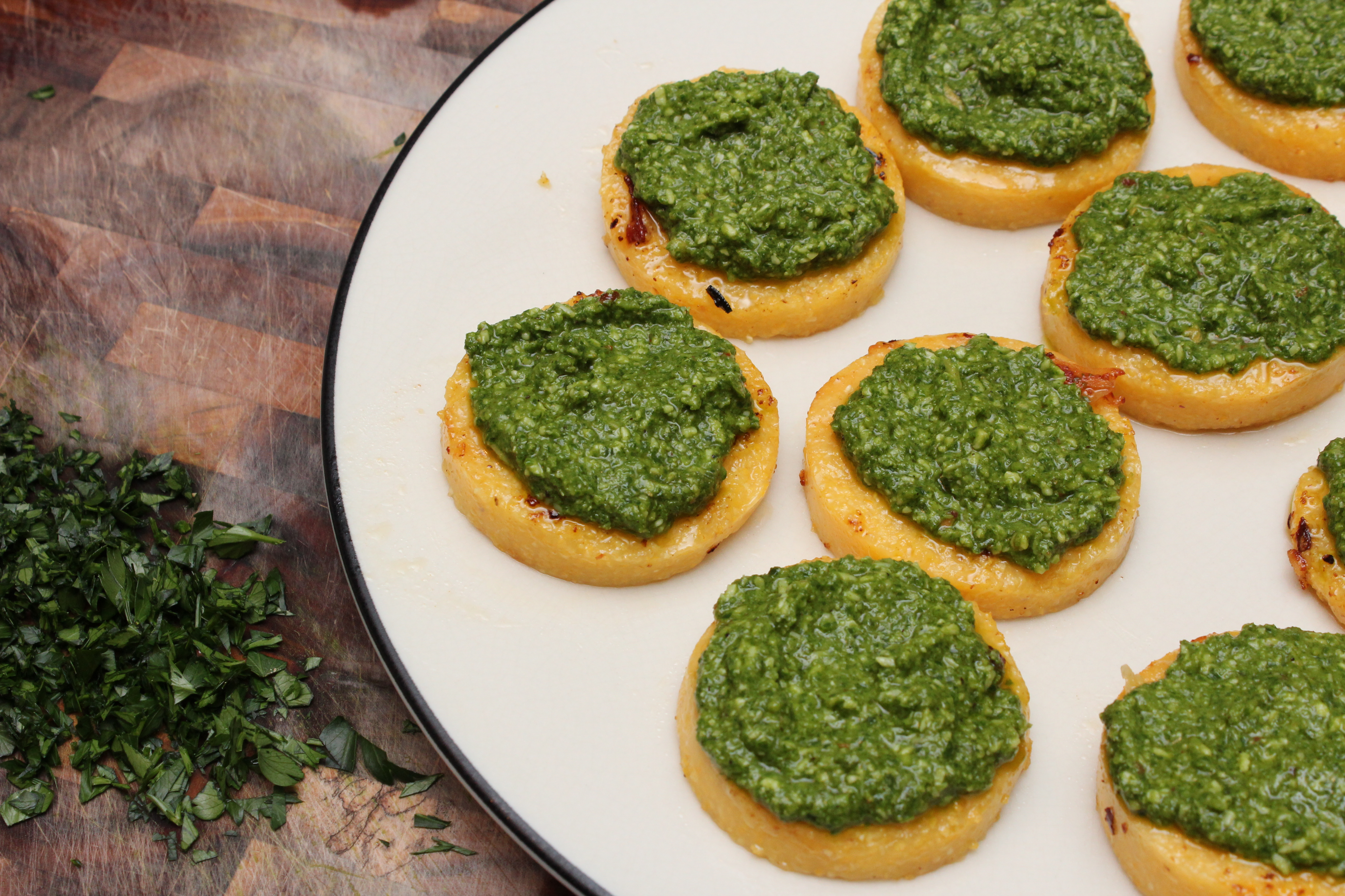 Polenta Pizzas With Kale, Chard, And Parsley Pesto Recipe ...
