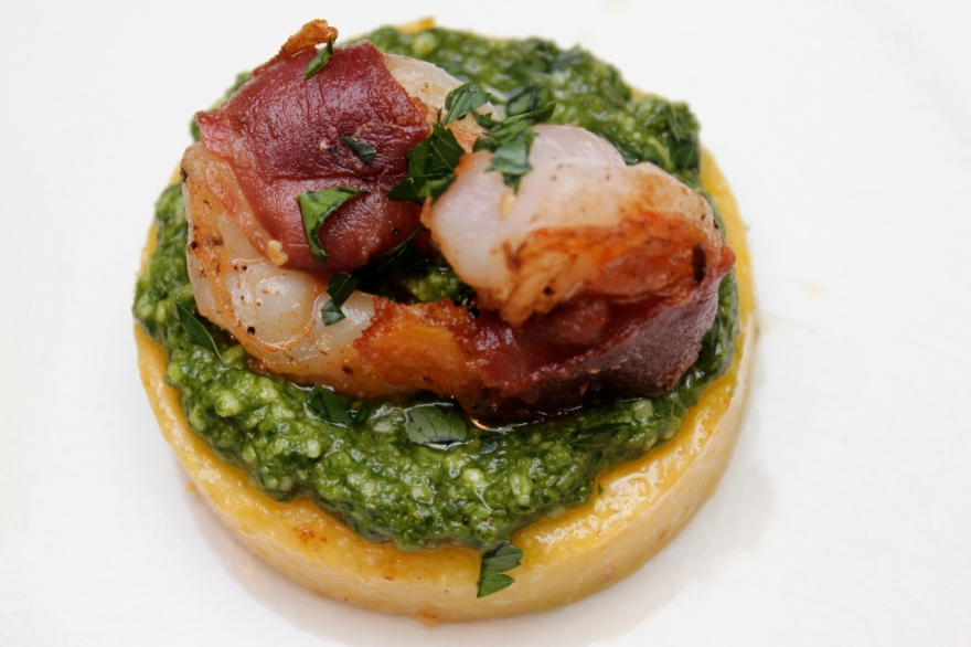 Shrimp & Pesto Polenta Cakes