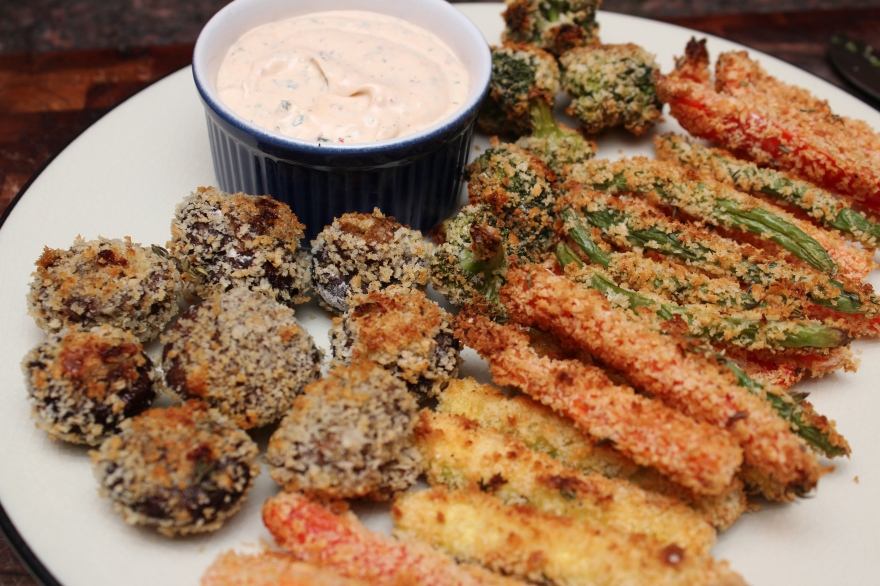 Panko Crusted Veggies with Chipotle Ranch