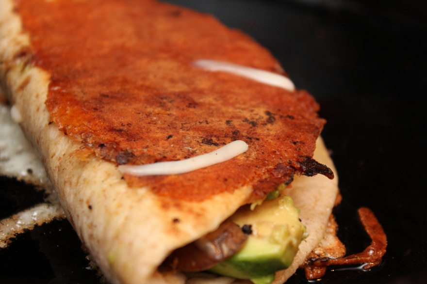Cheese Crusted Spinach & Mushroom Quesadillas