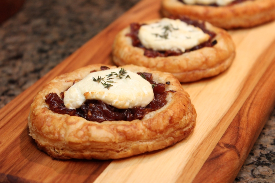 Red Wine Caramelized Onions & Goat Cheese Tartlets